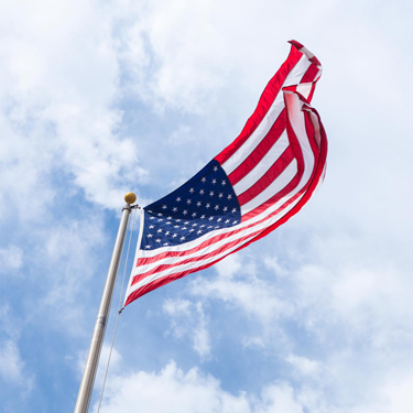 United States of American Flag waving in the wind.