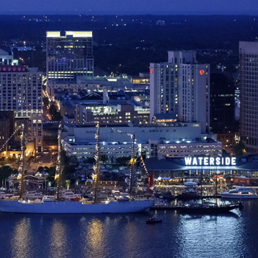 Waterside District aerial view at night.